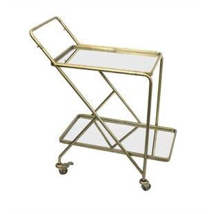 Everly Quinn Piso Stylish Mirrored Bar Cart