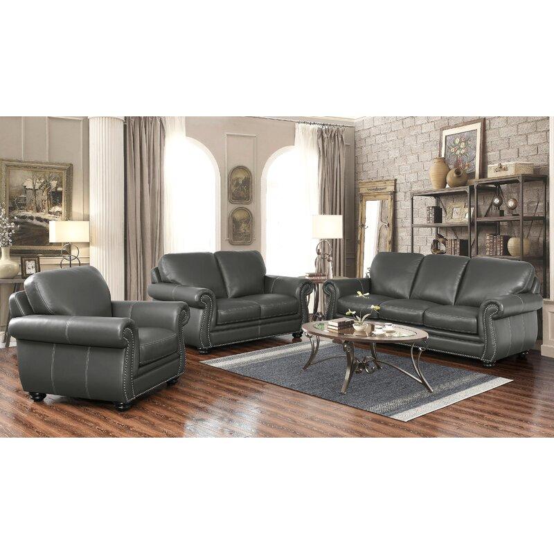 Fairdale 3 Piece Leather Living Room Set   Birch Lane