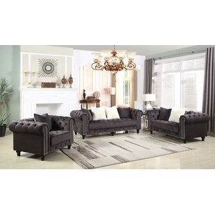 Canora Grey Leyton Upholstered 3 Piece Living Room Set