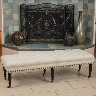 Vinewood Linen Upholstered Bench with Casters by Alcott Hill