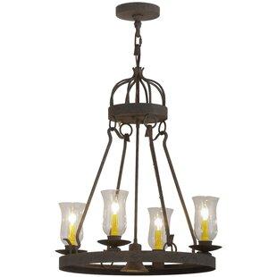 Meyda Tiffany Greenbriar Oak 4-Light Shaded Chandelier