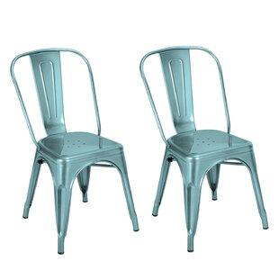Brayden Studio Hannum Stackable Industrial Chic Dining Chair (Set of 2)