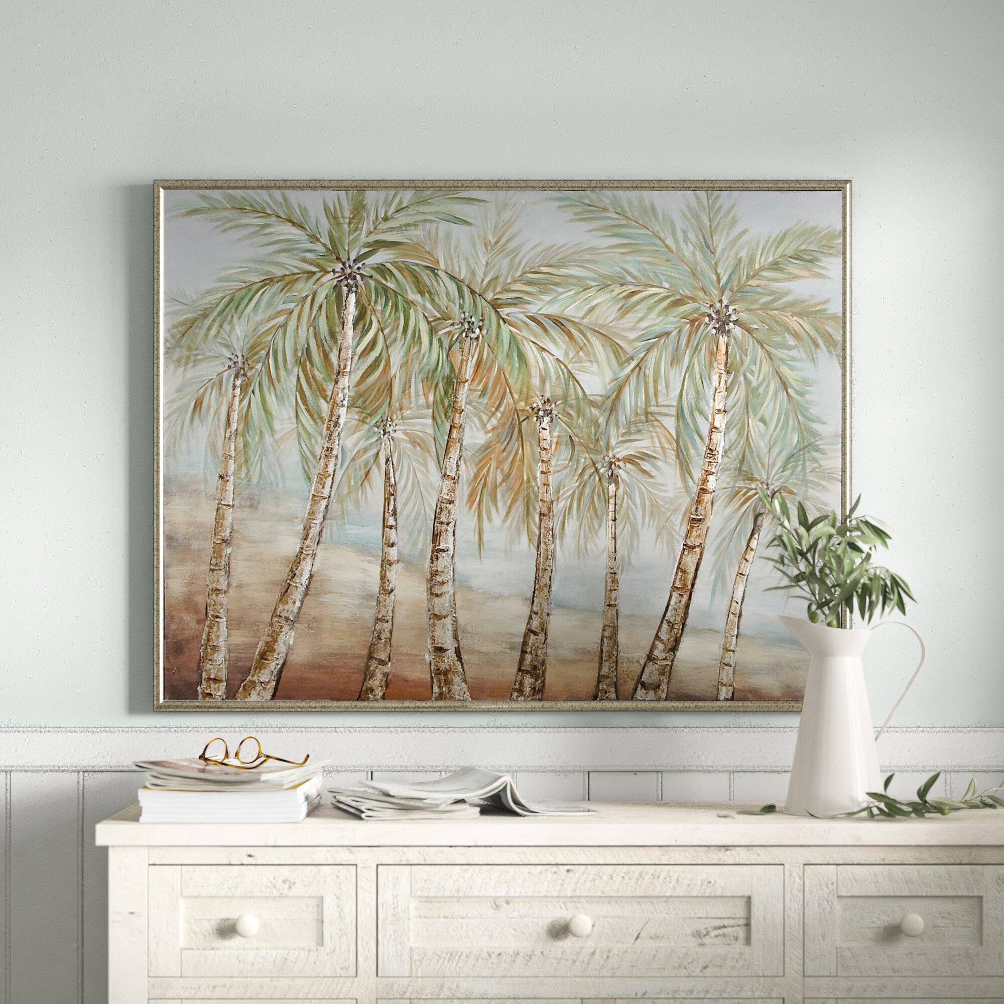 Coastal Coconut Trees By The Beach Framed Print On Reviews Birch Lane