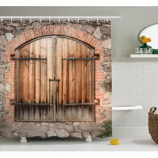 Wooden Tuscany Stone House Single Shower Curtain