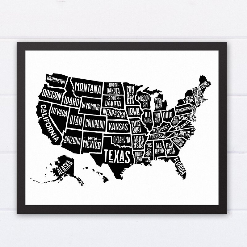 Wrought studio simple united states world map framed graphic art simple united states world map framed graphic art print gumiabroncs Choice Image