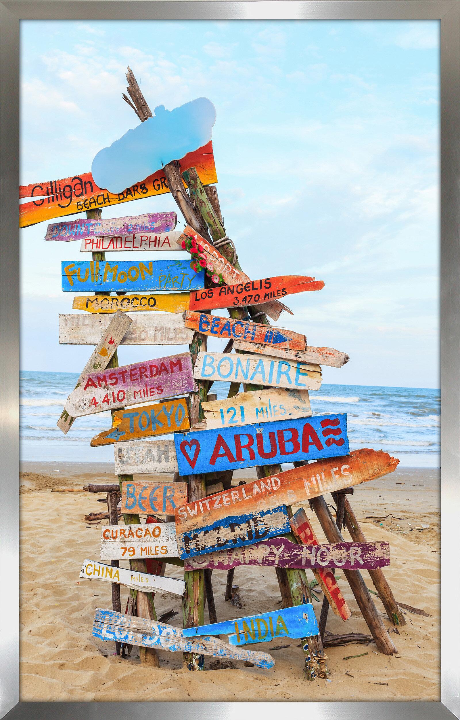 Pictureperfectinternational Beach Signs Framed Photographic Print Wayfair