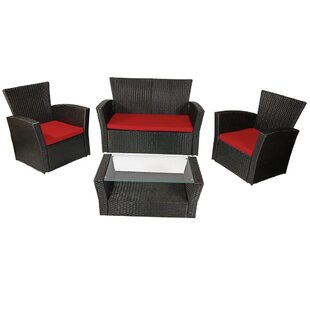 Anissa 4 Piece Sofa Deep Seating Set with Cushions