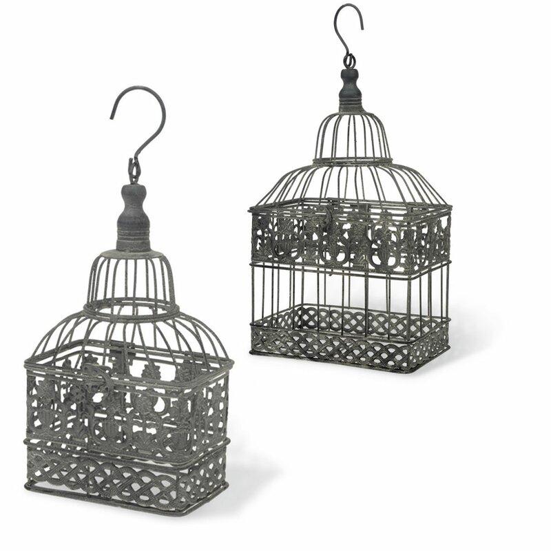 2-piece Birdcage Hanging Metal Terrarium Set