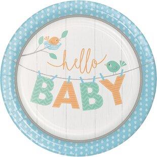 Hello Baby Boy Paper Dessert Plate (Set of 24)