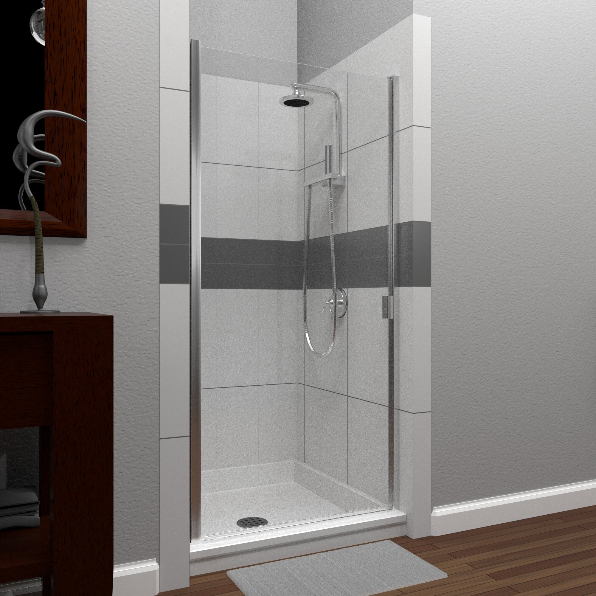 Rd Swinging 31 X 64 Hinged Semi Frameless Shower Door