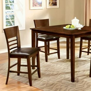 Carlinville 5 Piece Counter Height Solid Wood Dining Set by Alcott Hill