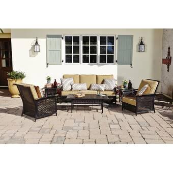 Woodard Carriage 6 Piece Rattan Sofa Seating Group With Sunbrella Cushions Perigold