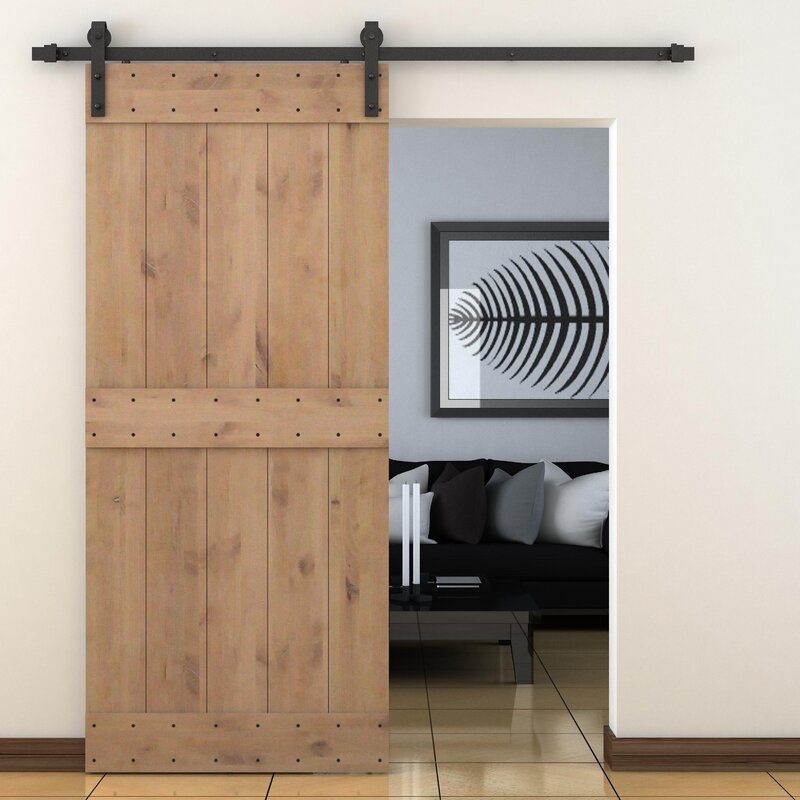 Calhome Paneled Wood Primed Alder Barn Door Without