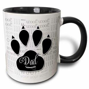 c4c75b14b0a Mascorro Dad Text with Dog Paw and Cute Canine Word Cloud Coffee Mug