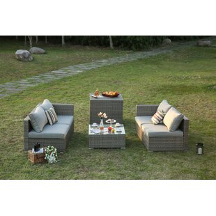 Wilfong 4 Piece Patio Sofa Set with Cushions