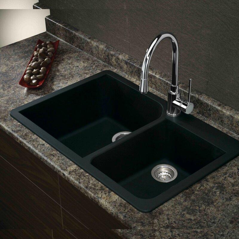 radius 33   x 22   granite double offset drop in kitchen sink transolid radius 33   x 22   granite double offset drop in kitchen      rh   wayfair com