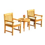 Mathes 3 Piece Teak Bistro Set