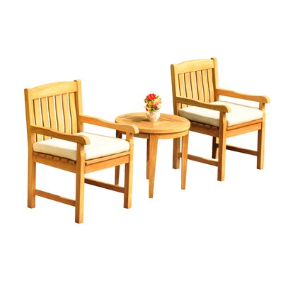 Mathes 3 Piece Teak Bistro Set by Rosecliff Heights Spacial Price