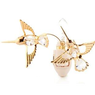 Matashi Crystal 24K Gold Plated Twin Hummingbirds Night Light