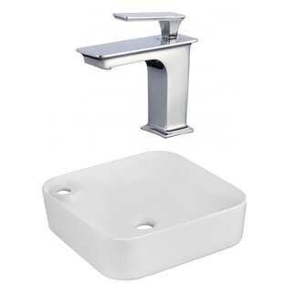Find Ceramic Square Vessel Bathroom Sink with Faucet ByAmerican Imaginations