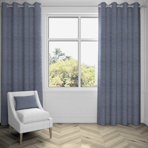 Agapanthus Hamleton Textured Pencil Pleat Blackoutt Thermal Curtains Ebern Designs Colour: Navy Blue, Panel Size: 167 W x 137 D cm