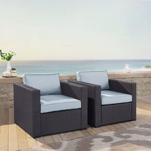 Seaton 2 Person Outdoor Wicker Chair with Cushions (Set of 2)