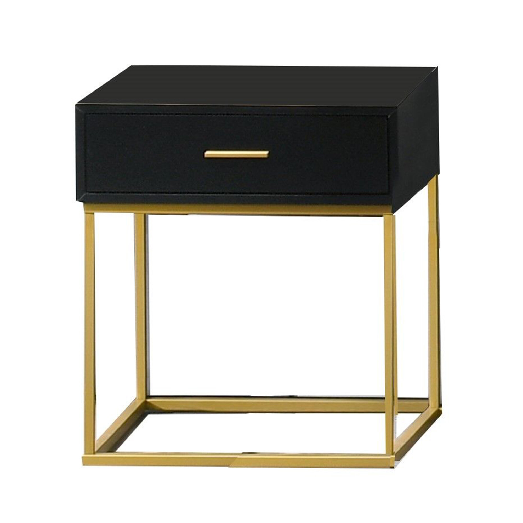 Everly Quinn Angelos 1 Drawer Nightstand In Black Gold Wayfair