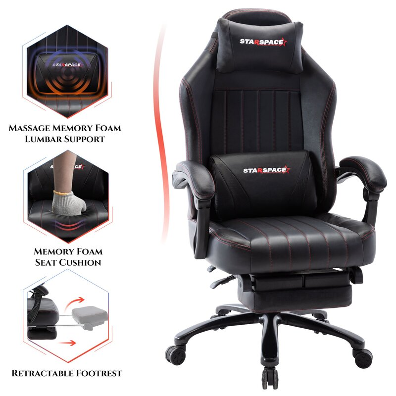 Adjustable Back Angle and Retractable Footrest Ergonomic High-Back Racing Executive Computer Desk Office Chair Black STARSPACE Big /& Tall 400lb Memory Foam Reclining Gaming Chair Metal Base