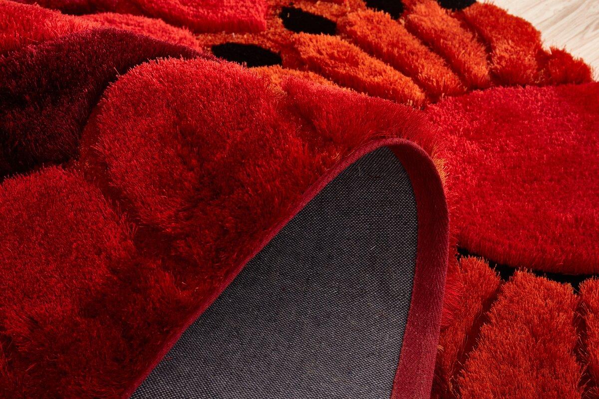Orren Ellis Kleiber Shaggy 3d Red Area Rug Amp Reviews