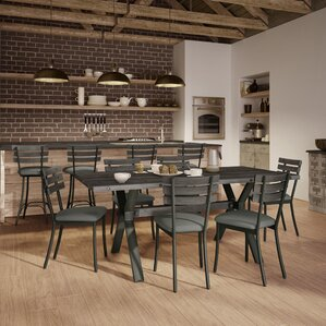Darcelle 7 Piece Metal and Aged Wood Dining Set by 17 Stories