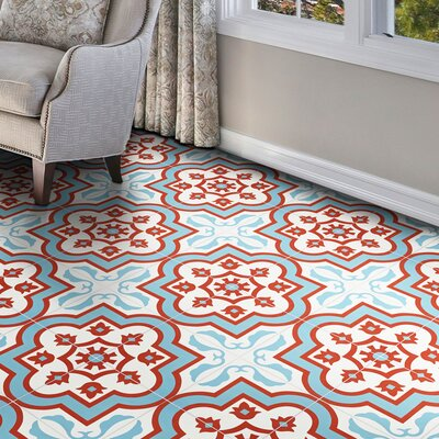 Taza 8 x 8 Cement Field Tile Moroccan Mosaic Color: Blue/Red/White