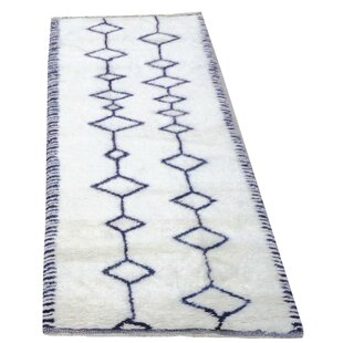 Genuine Fine Moroccan Hand-Woven Wool White Area Rug By Pasargad NY
