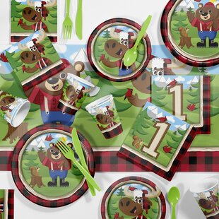 81 Piece Lum-Bear Jack 1st Birthday Paper/Plastic Tableware Set