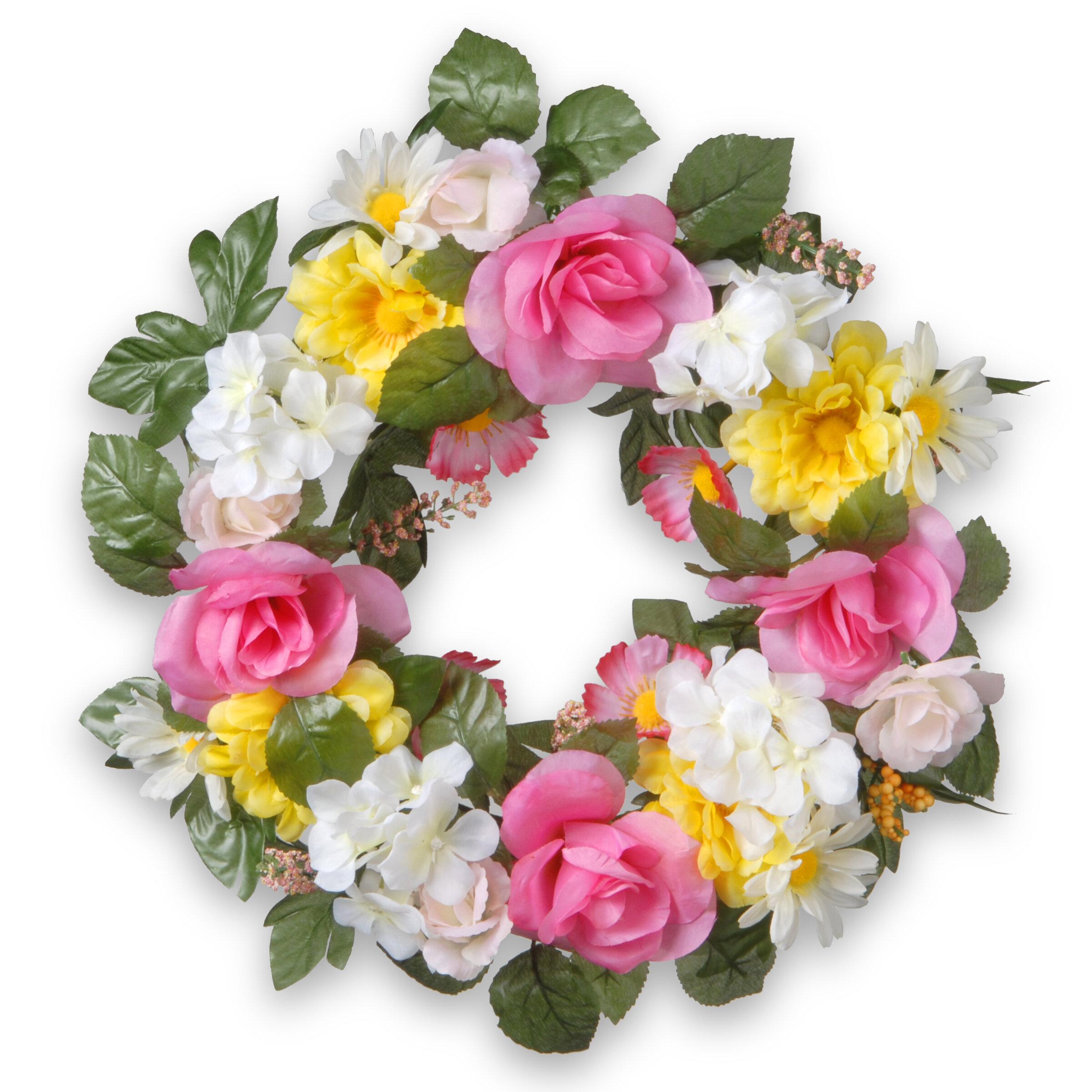 National Tree Co 18 Fabric Floral Wreath Reviews Wayfair