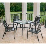 Colson 5-Piece Commercial-Grade Patio Dining Set with 4 Aluminum Slat-Back Dining Chairs and a 38 inch Tempered-Glass Table