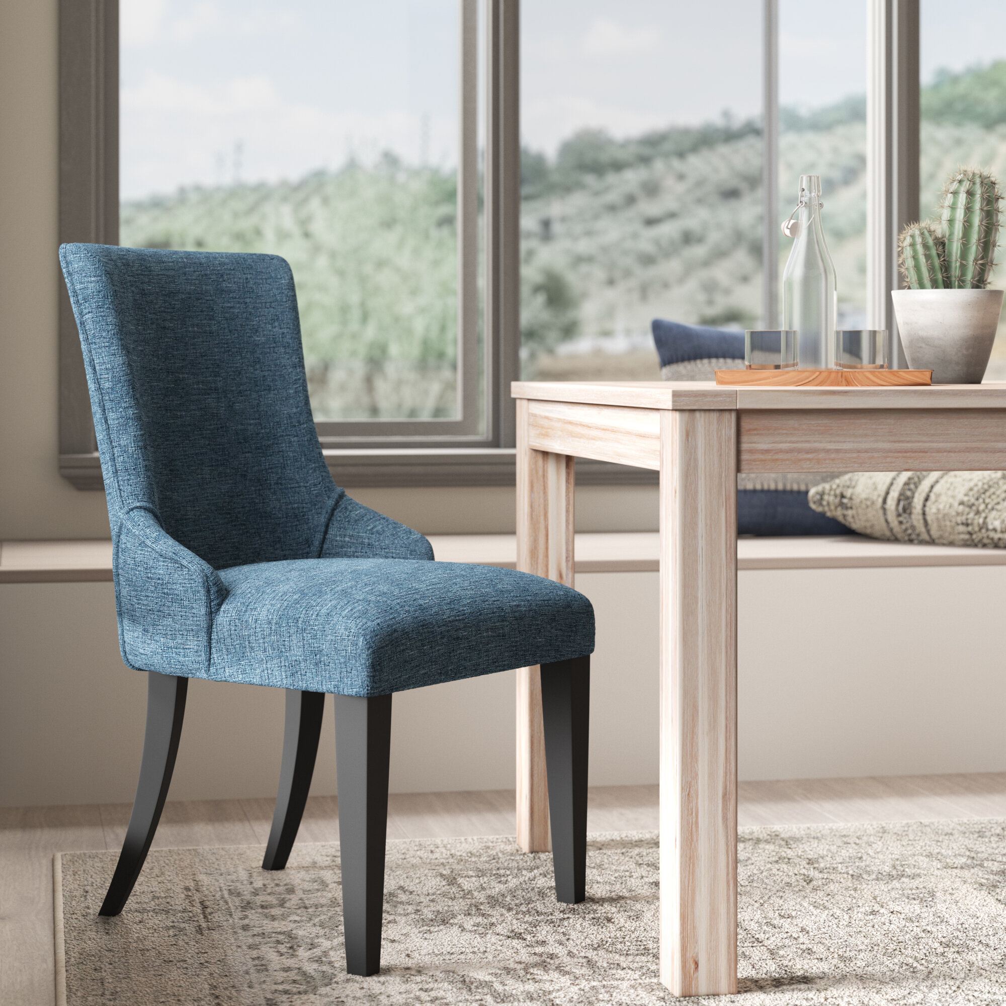 Wrought Studio Fincastle Upholstered Dining Chair In Blue Reviews Wayfair
