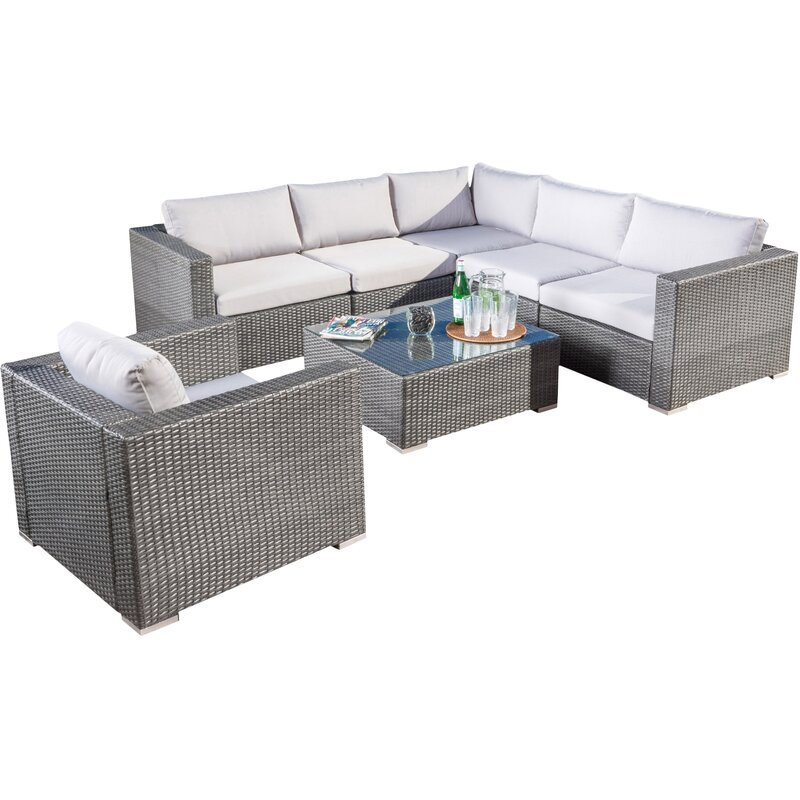 Sol 72 Outdoor  Cabral 7 Piece Sectional Set with Cushions Color: Multibrown
