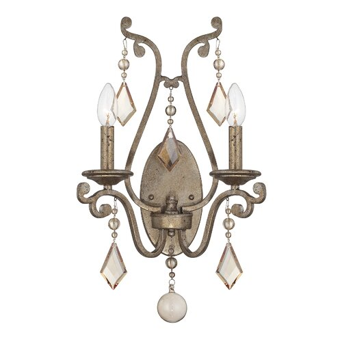 Gouet 2-Light Candle Wall Light Fleur De Lis Living