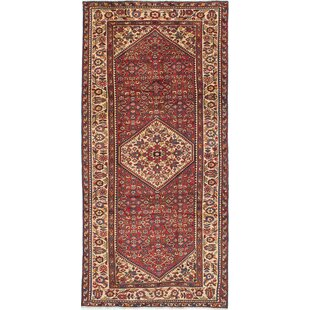 One-of-a-Kind Hamadan Hand-Knotted Runner 4'9 x 10'1 Wool Cream/Red Area Rug by ECARPETGALLERY