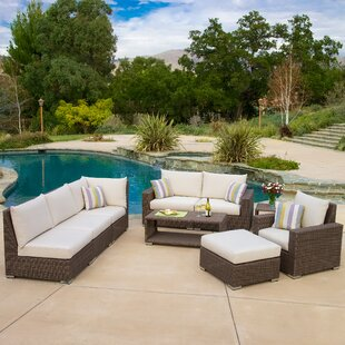 Lebow 9 Piece Rattan Sofa Set with Cushions