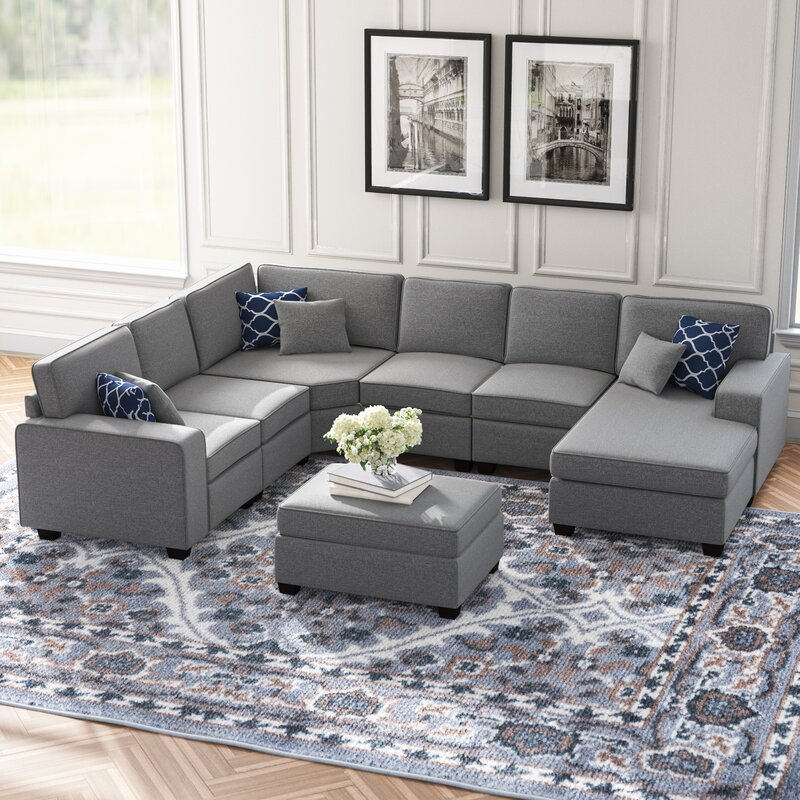 Ebern Designs Tamaha 124 Wide Right Hand Facing Modular Sectional With Ottoman Reviews Wayfair