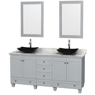 Acclaim 72 Double Oyster Gray Bathroom Vanity Set with Mirror by Wyndham Collection