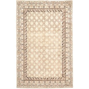 Inexpensive One-of-a-Kind Huntingdon Hand-Knotted  5'11 x 8'11 Wool Cream/Black Area Rug By Isabelline