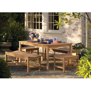 Beachcrest Home Siena Backless Wood Picnic Bench