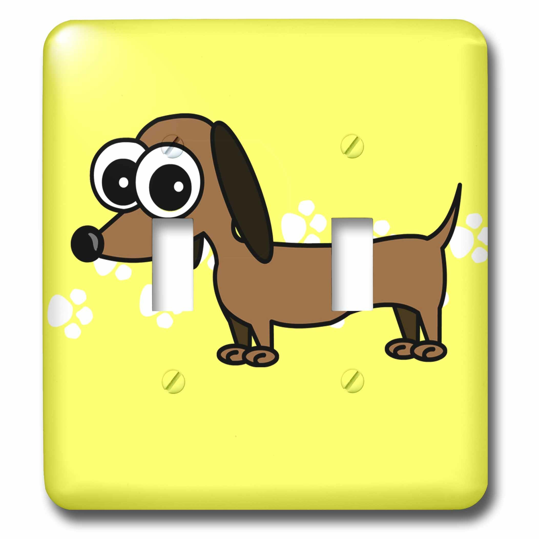 3drose Dachshund With Paw Prints 2 Gang Toggle Light Switch Wall Plate Wayfair