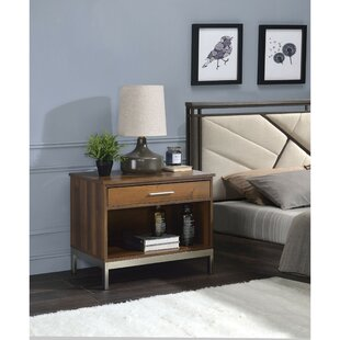 Refugio Metal Stand Wooden 1 Drawer Nightstand