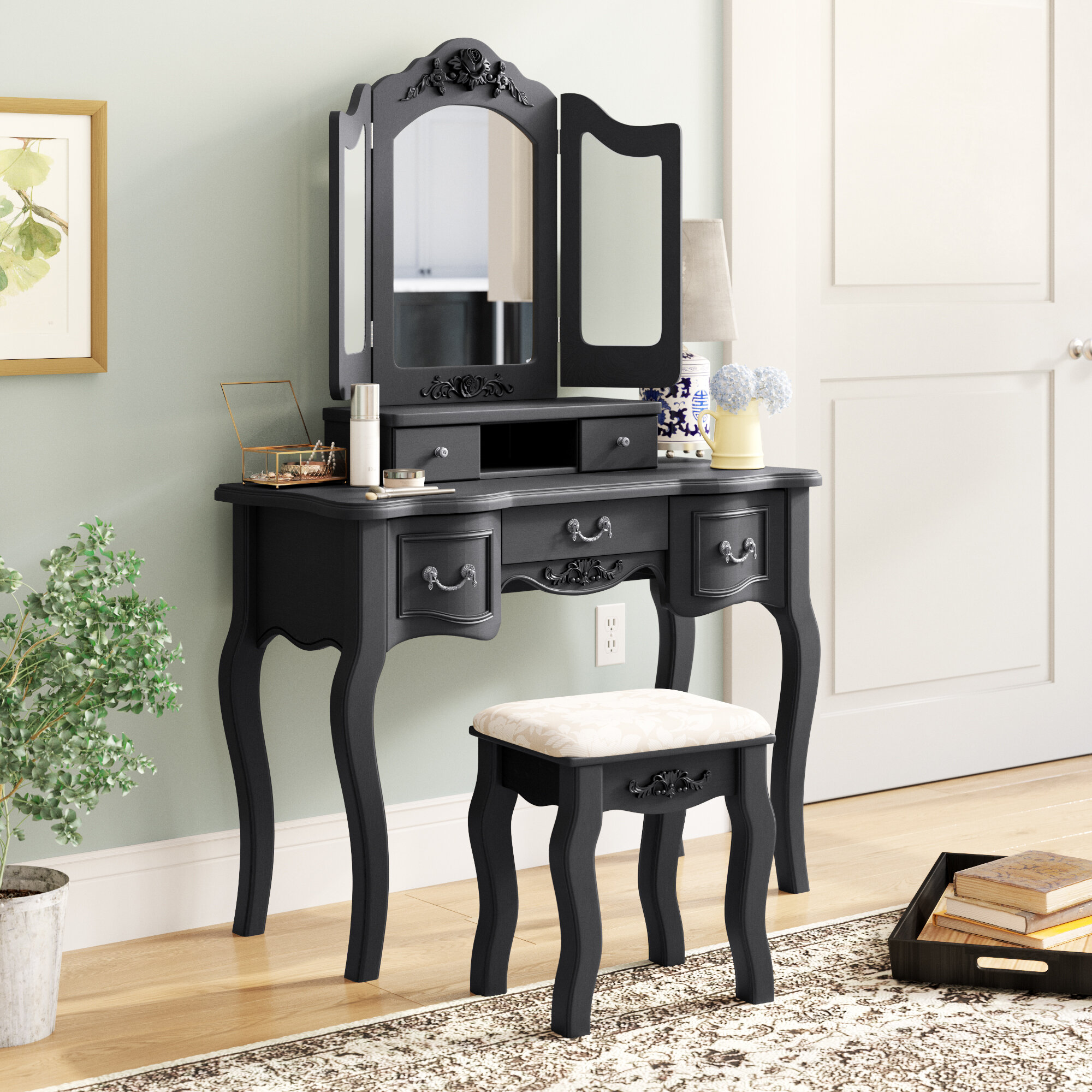 Charlton Home Berggren Tri Folding Vintage Vanity Set With Stool And With Mirror Reviews Wayfair