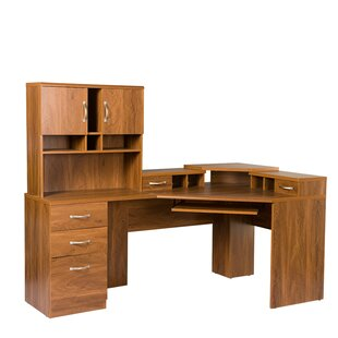 Compare prices Lewisville Corner Computer Desk with Hutch By Red Barrel Studio