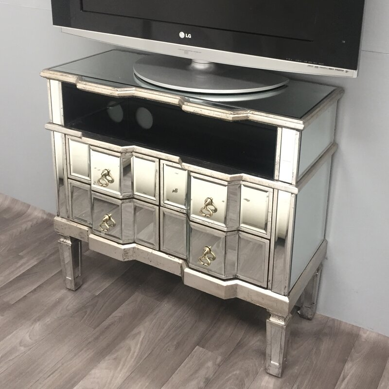 Vintage Mirrored Range TV Stand For TVs Up To 32
