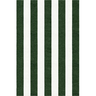 Searching for Watley Stripe Hand-Woven Wool Dark Green/White Area Rug By Breakwater Bay